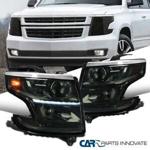 For 15-20 Chevy Tahoe Suburban Smoke Projector Headlights w/ LED DRL Strip Pair