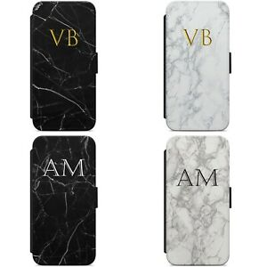 Personalised Initials Name Marble FLIP WALLET PHONE CASE COVER