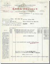 Facture - BRY & HELLEUX Fabrique de chaussures Pontorson 1953