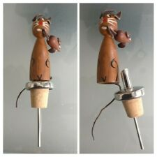 Bouchon de bouteille le chat et la souris en bois ancien vintage jamais utilisé.
