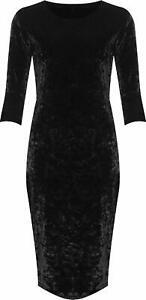 Women's Plus Crushed Velour Velvet Long Sleeve Party Ladies Bodycon Knee Dress
