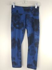 Lululemon Wunder Under Crop Jumbo Inky Floral Black Inkwell Size 4 Pants Blue