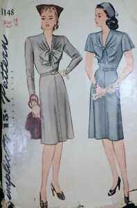Vtg WWII Home Front 1940s 1944 Simplicity 1148 Day Dress SEWING PATTERN 18