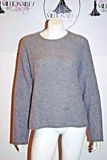 ZADIG & VOLTAIRE 361216 GRAY RIBBED MARKUS CASHMERE PULL OVER SZ M