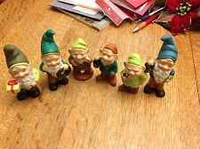 6 Plaster Hand Painted Elf Figurines 4 to 5 inches tall