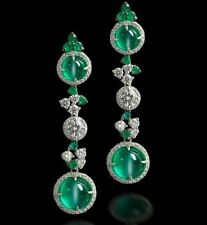 16ct Long Earring Solid 925 Sterling Silver Green Round Women Wedding Jewelry Cz