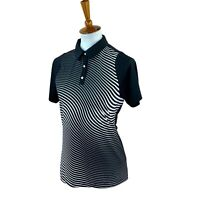 Puma Women's Cool Cell Short Sleeve Fitted Stretch Black Stripe Golf Top Small