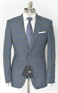 NWT HUGO BOSS Gray Blue Plaid Wool Cotton Linen Slim Fit Sport Coat 38 R (EU 48)
