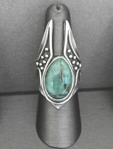 Acid Queen Jewelry Silver and Emerald Ring, Size 8.25