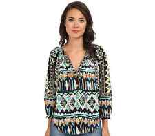 NWT $220 KAS New York Isi Embroidered Split Neck Long Sleeve Peasant Blouse S