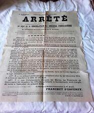 Placard/Affiche- Mars 1916 - Denrées fouragères - Ve Armée - Franchet D'Esperey