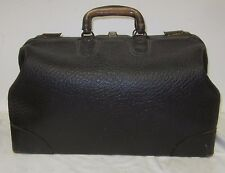 Vintage Medical Doctor's Black Leather Travel Bag Cowhide Interior With Pockets