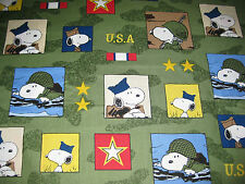 "Peanuts Snoopy Hugs for Heroes Olive Soldier USA Fabric Fat Quarter 18"" x 21"""