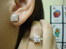 jem: DIAMOND SQUARE STUD EARRINGS & RING JEWERY SET in FINE SILVER