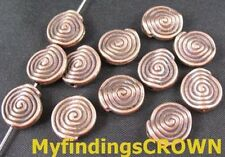 50 Pcs Antiqued copper Spiral round spacers FC479