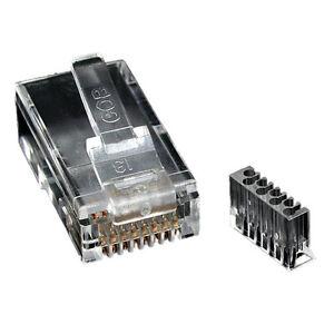 Crimp Plug RJ45 Cat6a Cat6 Shielded Plug 50u Load Bar for STP Cable Pack of 50