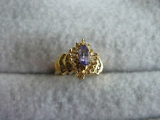 Fine Jewelry Gold Tanzanite & Diamond 14Kt Yellow Gold Ring #36