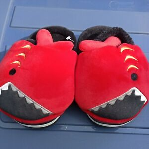 Boys Girls Warm Baby Shark House Slippers Toddler Kids Fuzzy Shoes Red hard sole