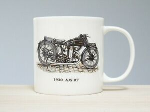 Bone China 1930 AJS R7 Motorbike Mug Hand Decorated In Wales (Almost A Pint)