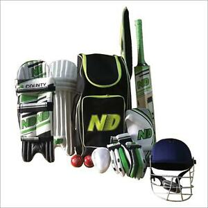 ND COUNTY Cricket Kit 11pc Set Bat Ball Pad Leg Guard Glove BAT Mens Senior