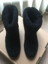 Clarks Black Size 5 Suede And Fur Ankle Boots