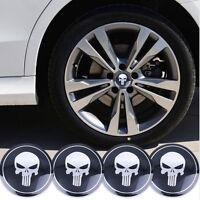 4 x Punisher 65mm Felgensticker Aufkleber Nabendeckel Nabenkappen Emblem Skull