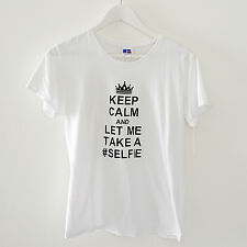 'STAY CALM AND LET ME TAKE A SELFIE' WHITE COTTON T-SHIRT SIZE L 155F