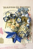 ROYAL BLUE & CREAM - 24 Roses Blossoms & Lilly - PAPER & SILK 10-65mm H2