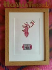 Harris Tweed Pink Tartan Stag Picture.  Handcrafted Scottish Gifts.