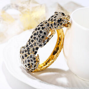 Leopard Panther Bangle Animal Bracelet Crystal Gold Women Party Gift Gold Tone