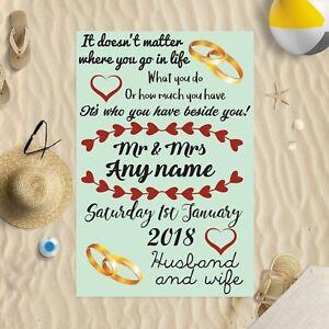 "58 x 39"" Personalised Beach Towel Marriage Poem Green Design Microfibre Wedding"