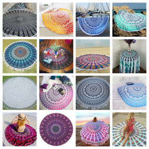 Indian Mandala Round Tapestry Wall Hanging Picnic Blanket Beach Towel Yoga Mat