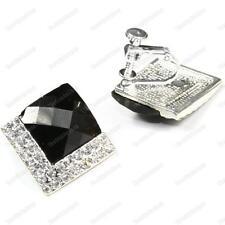 CLIP ON screw ART DECO crystal 2cm big SQUARE EARRINGS black/silver RHINESTONE