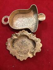 Two Pieces Vintage Solid Brass Etched Ash Trays Made in India