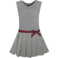 Us Stock! Girls Dress Gray School Uniform Pleated Skirt Dress Size 4-12