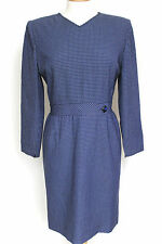Valentino Vintage Blu Navy Blue Quadrettato DRESS UK 12-14 USA 12