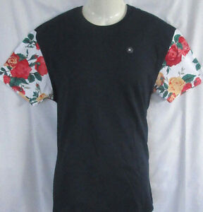 MENS FIRST DRAFT FLORAL ZIPPERED SIDES T-SHIRT SIZE M