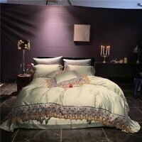Light Luxury Tencel Soft Bedding Set Lace Duvet Cover Bed Sheet Bed Linen 4pcs