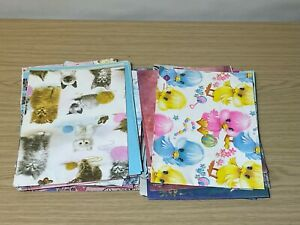 Lot of Sheets of Vintage Wrapping Paper Various Designs for Crafts See Photos