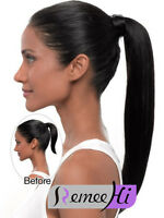 Long Wrap Around Ponytail Clip in on Pony tail Human Hair Extensions hairpiece