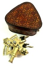 """Antique Brass Working Sextant 3"""" Marine Nautical Astrolabe in Leather Cover"""