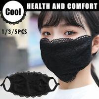 3/5pcs Delicate Lace Applique Washable Reusable Breathable Mouth Mask Face Masks