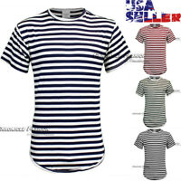 Men T-Shirt Striped Casual Crew Neck Short Sleeve Curved Extended Longline Tee