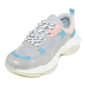 Ladies Womens Chunky Sole Trainers Lace Up Sneakers Platform Sports Shoes Size