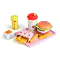 Children Wooden Play & Pretend Food Set -6pcs, Hamburger French Fries & More