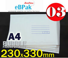 100 #03 - NEW - Bubble Mailer 230x330mm A4 Size White Padded Bag Envelope