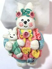 Bunny Bear Figural Modern Easter Cute Resin Pin Bunny Carrying It'S