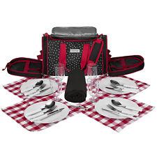 anndora Picknick Kühltasche Decke schwarz weiß gepunktet Strand Tasche  4 Person