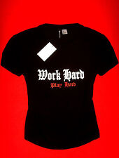 H&M SHIRT SCHWARZ PRINT ROCKER BIKER METAL BOHO L NEU mit ETIKETT !!! TOP !!!