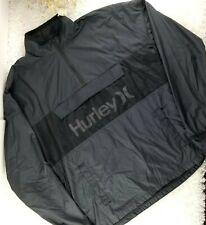 Hurley mens black anorak jacket SIZE M windbreaker nylon side zip lightweight (V